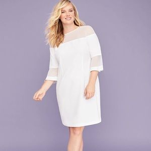 3/4 Bell Sleeve Mesh-Yoke Sheath Lane Bryant Dress